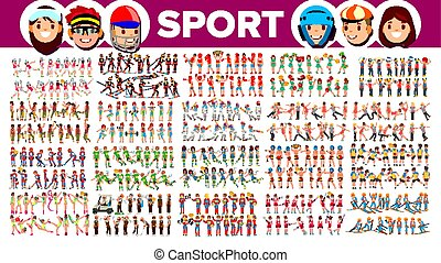 Athlete Set Vector. Man, Woman. Group Of Sports People In Uniform, Apparel. Sportsman Character In Game Action. Flat Cartoon Illustration