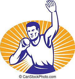 Athlete Shot Put Throw Retro - Illustration of an athlete...