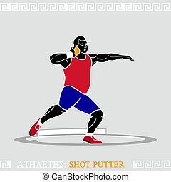 Athlete Shot putter - Greek art stylized shot putter in...