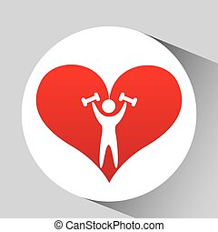 athlete silhouette barbell weights heart