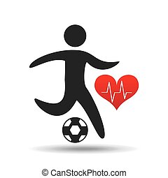 athlete silhouette football heart beat graphic