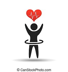 athlete silhouette heart beat design graphic