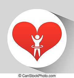 athlete silhouette heart beat design graphic
