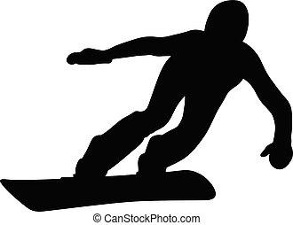 athlete snowboarder downhill