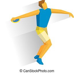 Athlete throwing the discus isolated on white background