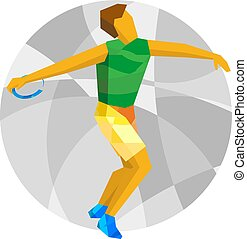 Athlete throwing the discus with abstract patterns