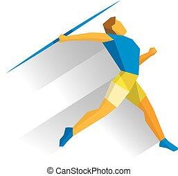 Athlete throwing the javelin isolated on white background