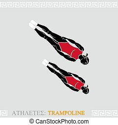 Athlete Trampoline Gymnast - Greek art stylized trampoline...