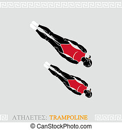 Athlete Trampoline Gymnast - Greek art stylized trampoline...