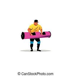 athlete., vecteur, haltérophilie, illustration.