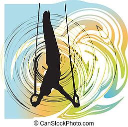 athlete., vecteur, illustration