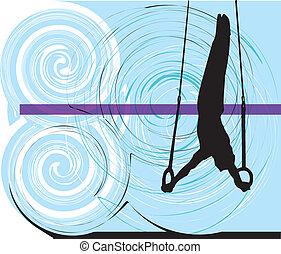 athlete., vetorial, ilustração