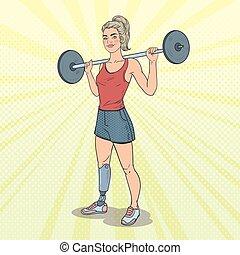 athlete., vrouw, kunst, paralympic, prothese, knallen, gehandicapt, gym., sport., vector, illustratie, invalide