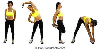 Athlete Warming up - young black female athlete doing warm...