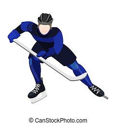Athlete with ice-hockey stick playing hockey vector...