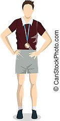 Athlete with medal.
