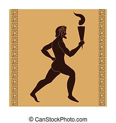 Athlete with olympic fire icon in cartoon style isolated on...