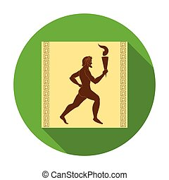 Athlete with olympic fire icon in flat style isolated on...
