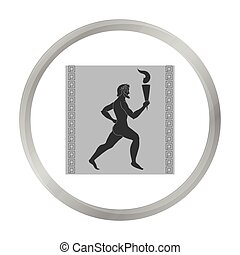 Athlete with olympic fire icon in monochrome style isolated...