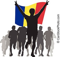 Athlete with the Andorra flag