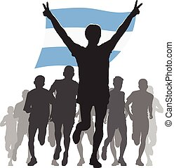 Athlete with the Argentina flag