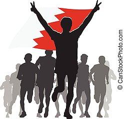 Athlete with the Bahrain flag