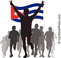 Athlete with the Cuba flag