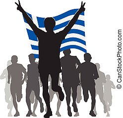 Athlete with the Greece flag