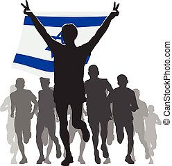 Athlete with the Israel flag