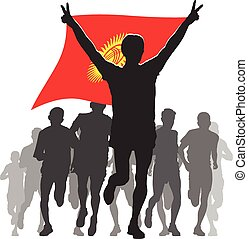 Athlete With The Kyrgyzstan Flag