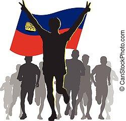 Athlete with the Liechtenstein flag