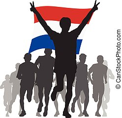 Athlete with the Netherlands flag