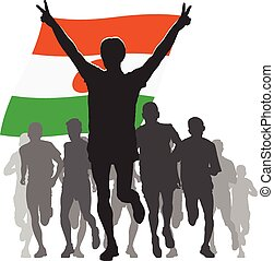 Athlete with the Niger flag