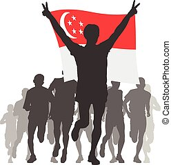 Athlete with the Singapore flag