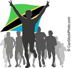 Athlete with the Tanzania flag