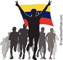 Athlete with the Venezuela flag