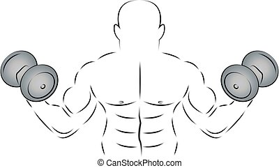 Athlete with two dumbbells, vector