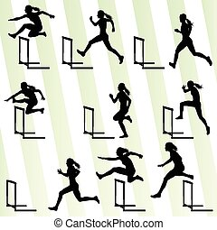 Athlete woman hurdling in track and field vector background set