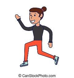 Athlete woman running cartoon isolated blue lines
