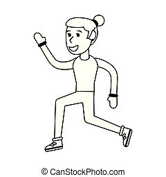 Athlete woman running cartoon isolated in black and white