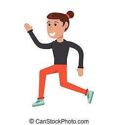 Athlete woman running cartoon isolated