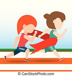 athlete woman running in competition championship achieve a goal