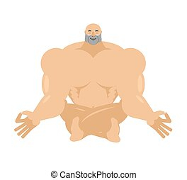 Athlete yoga. yogi bodybuilder. sportsman zen and relaxation
