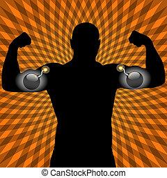 athleten, mit, sprengstoff, muskel