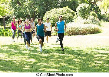 athleten, rennender , gruppe