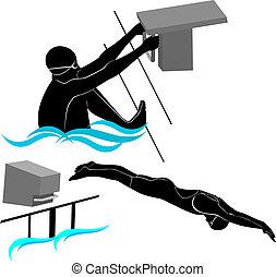athleten, silhouetten, schwimmer, satz