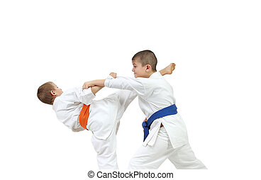 Athletes are doing exercises karate