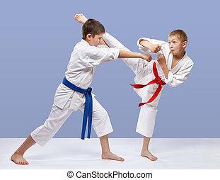 Athletes are training blows karate