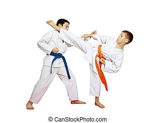 Athletes are training karate blows