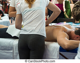 Athlete's Back Massage after Fitness Activity, Wellness and Sport